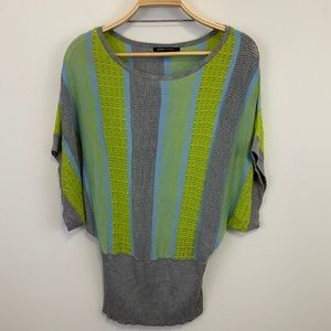 BCBGMAXAZRIA Open knit lime green grey Sweater S